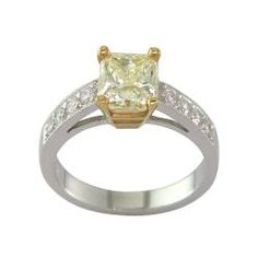 14k White Gold 2 1/5 CT TDW Certified Clarity-enhanced Fancy Light Yellow Diamond Ring