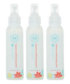 The BEST detangling for my daughter's long hair. Light citrus scent, and no build up/residue, The Honest Company 4-Oz. Hair Conditioning Mist - Set of Three by The Honest Company #zulily #zulilyfinds