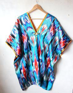 Raw silk summer dress / kaftan ( one of a kind )