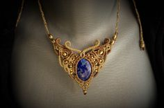 Lapis Lazuli macrame necklace Lapis jewelry от WhenManimetKali