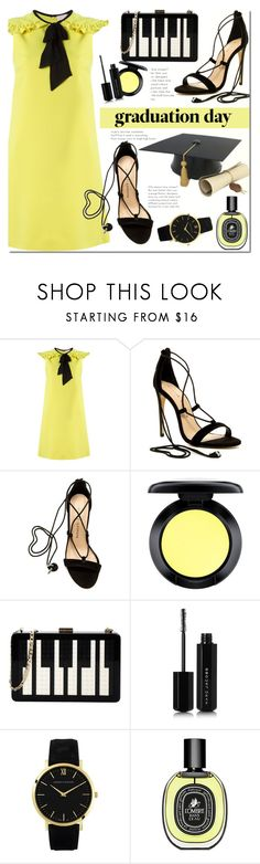 """""""Congrats, Grad: Graduation Day Style"""" by mada-malureanu ❤ liked on Polyvore featuring Giamba, Chinese Laundry, MAC Cosmetics, Les Petits Joueurs, Marc Jacobs, Larsson & Jennings, Diptyque, Graduation and polyvoreeditorial"""