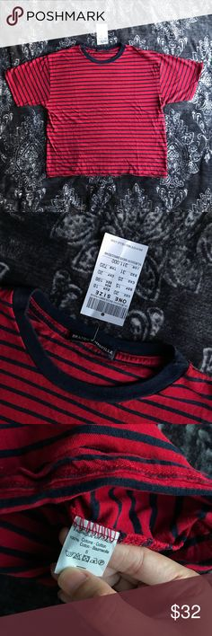 Brandy Melville Red Blue Striped Ringer Aleena Top New with tag. Basic cotton tee in red with navy blue stripes and a navy ringer collar. 100% cotton, One Size, Made in Italy.   Measurements: 22.5 inches long, 20 inches wide from pit to pit while laying flat. Brandy Melville Tops