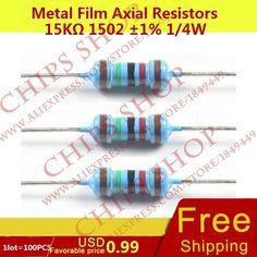 1LOT=100PCS Metal Film Axial Resistors 15Kohm 1502 1% 1/4W 15000ohm 0.25W Wattage1/4W electronic components china #Affiliate