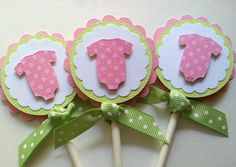 Cupcake Toppers, Baby Shower Cupcake Toppers, Party Decorations, Baby Girl Shower, Pink Onesie Cupcake Topper, Set of 12. $11.00, via Etsy.