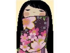 Japanese Kokeshi Girly Doll 7 KIYOMI by CrossStitchRinna on Etsy