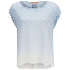 BOSS Orange Women's Todiscover Dip-Dye T-Shirt - Light/Pastel Blue (855.050 IDR) ❤ liked on Polyvore