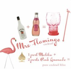 Source: Pinterest  #wittyvows #drinks #mocktails #mocktailrecipe #cocktails #recipe #recipeoftheday #recipeideas #potd #trending #lemonade #malibu Party Drinks, Cocktail Drinks, Fun Drinks, Beverages, Party Favors, Pink Cocktails, Fruity Drinks, Pink Flamingo Party, Pink Flamingos
