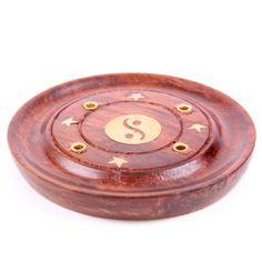 Kulatý stojánek na vonnou tyčinku z palisandru, s motivem Yin Yang #vonne #tycinky #aromaterapie #aromatherapy #incense