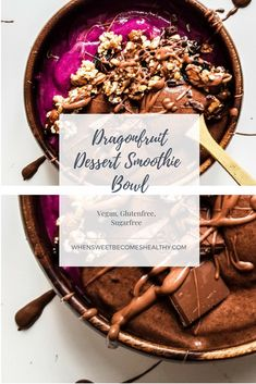 Tropical dragonfruit chocolate dessert smoothie bowl by when sweet become healthy Vegan Lunch Recipes, Best Vegan Recipes, Vegan Sweets, Vegan Food, Healthy Recipes, Vegan Baking, Raw Vegan, Healthy Eats, Easy Recipes