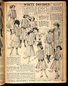 1911 Sears white dresses for girls aged 6-14