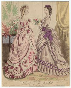 Fashion plate, 1870's, Courrier de la mode- hair