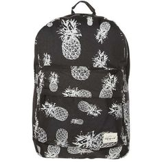 Spiral Bags Rucksack pineapple black ($31) ❤ liked on Polyvore featuring bags, backpacks, backpack bags, spiral backpacks, pineapple print bag, day pack backpack and knapsack bag