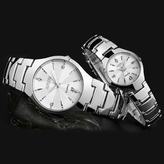 NARY Men women couple watches Male&Female quartz watches Lovers Tungsten steel watch Calendar fashion Dress Lover' wristwatches - Online Shopping for Watches