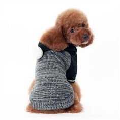 Contrast Hoodie Mix-Knit Pullover Dog Sweater - Black