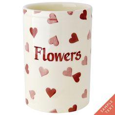 Personalised Pink Hearts Medium Vase