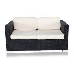 Coronado Outdoor 2 Seater Modern Sofa Black