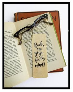 Books are Yoga for the Mind!- Wooden Maple Bookmark- Eco Friendly - Bookworm Gift - Gifts for Book Lovers -Bookish- Made in Michigan - SIGNETS - - Bookmarks Quotes, Bookmarks For Books, Creative Bookmarks, Cute Bookmarks, Paper Bookmarks, Bookmark Craft, Watercolor Bookmarks, Corner Bookmarks, Handmade Bookmarks