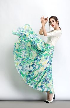 Chiffon Summer Skirt – Green & Blue Floral Print Sheer Handmade Made-To-Measure Woman's Summer Skirt (C483)