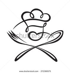 black illustration of spoon, fork and chef - stock vector