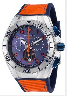 Men's Cruise Calif. Chrono Blue Silicone Orange Canvas Blue Dial