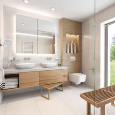 white tile in guest bathrooms upstairs H- white sinks sunk in to counter. BE… white tile in guest bathrooms upstairs H- white sinks sunk in to counter. Guest Bathrooms, Bathroom Spa, Wood Bathroom, Bathroom Renos, White Bathroom, Modern Bathroom, Bathroom Cabinets, Master Bathroom, Bathroom Storage
