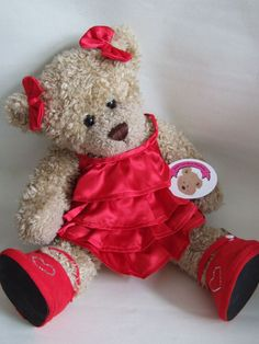 Image detail for -Teddy Bear Clothes Red Frilly Satin Dress with 2 Bows