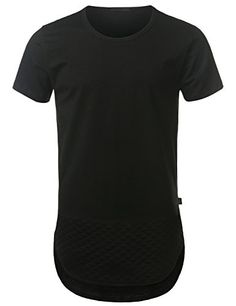 URBANCREWS Mens Hipster Hip Hop Quilted Longline Tshirt BLACK XXLARGE