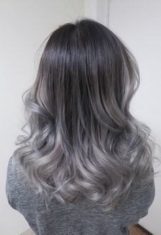 Black to silver ombre hair