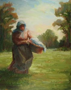 Original Art Oil Painting 11x14  Laundry Day by starryniteart, $570.00