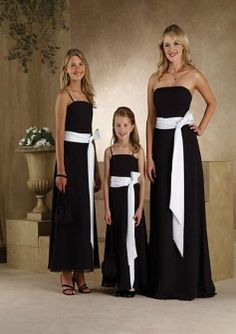 A-line Spaghetti Straps Chiffon Black Floor-length Bridesmaid Dress(BM0100404)  Love the fact it's available in adult and kid sizes. :-)