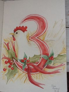 French Hens 12 Days of Christmas Kerri Kimbriel. Watercolor
