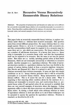 Recursive versus recursively enumerable binary relations - Springer