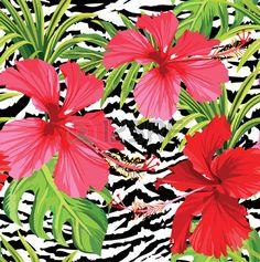 Hibisco y hojas de palmera estampado de flores tropicales el fondo del estampado de zebra Foto de archivo