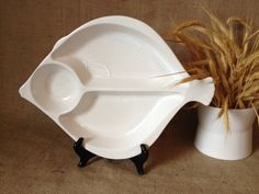 Vintage White Ceramic Divided Fish Platter Chip by ChattCatVintage
