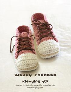Weavy Woman Sneakers Crochet Pattern by Kittying Crochet Pattern from Kittying.com / Mulu.us,Instant PDF Download. Product code:SS04-R-PAT   US / Canada women's sizes of 5 - 10  Europe women's sizes of 35 - 42  UK women's sizes of 2.5 - 7.5