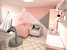 43 ideas baby bedroom pink paint for 2019 Cute Room Decor, Baby Room Decor, Home Decor Bedroom, Baby Bedroom, Girls Bedroom, Baby Dekor, Modern Kids Bedroom, Bedroom Wall Designs, Kids Room Design