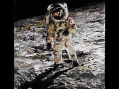 """""""non siamo mai stati sulla luna"""" silicone su pannello120x120"""