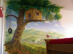 Tree House Theme Playroom | Kid's Treehouse MuralPainted murals and mural painting by Billy ...