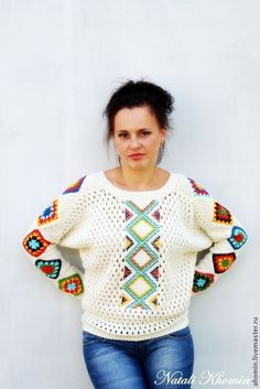 """Кофты и свитера ручной работы. Ярмарка Мастеров - ручная работа кофта вязаная авторская """"Вышиванка"""". Handmade."""