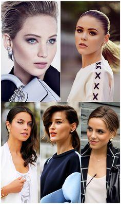 Jennifer Lawrence, Kristina Bazan (Kayture), Annabelle Fleur (ViVaLuxury), Hanneli Mustaparta and Julia Engel (Gal Meets Glam) wearing Dior Mise En Dior Tribal Double-Pearl Earrings