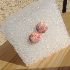 Country Summer Fabric Button Earrings by BeckyABoutique on Etsy