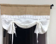 Linen Tie-Up Curtains White Pull-up Valance Shabby от pillowpuff Tie Up Curtains, Layered Curtains, Purple Curtains, Brown Curtains, Shabby Chic Curtains, Cheap Curtains, Drop Cloth Curtains, Floral Curtains, Elegant Curtains