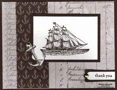 Brown Boat Thanks by Michelerey - Cards and Paper Crafts at Splitcoaststampers