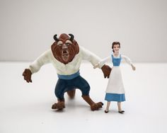 Vintage Beauty and the Beast bendy figure toys belle and beast on Etsy, £5.10