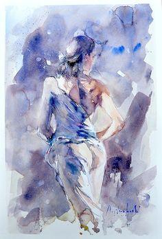 Roberto Andreoli FIGURA DI SCHIENA Acquerello cm. 36x51
