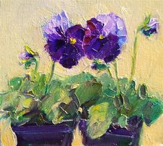 "Daily Paintworks - ""Winter Pansies,still life, oil on canvas,8x8,prie $250"" - Original Fine Art for Sale - © Joy Olney"