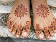 Photographic Print: Henna Painting on Feet of Young Girl Poster by Anders Blomqvist : 24x18in