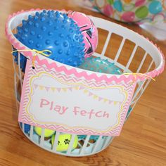 "Play ""fetch"" at a Paw Patrol/Puppy themed birthday party - just fill a laundry basket with balls! Dog Themed Parties, Puppy Birthday Parties, Birthday Fun, Birthday Ideas, Ball Birthday, Birthday Basket, Dog Themed Food, Dog Parties, Twin Birthday"