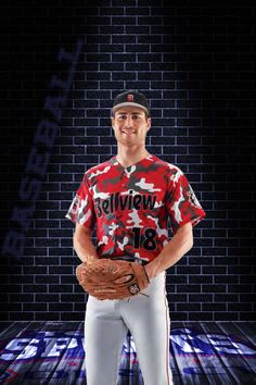 "This full button down baseball jersey is the ""Camo"" design and can be customized with your team colors, logos and roster info.  The pants shown are 17oz Relay piped baseball pants with open bottoms.  #BaseballTeam #BaseballJersey #BaseballUniforms"