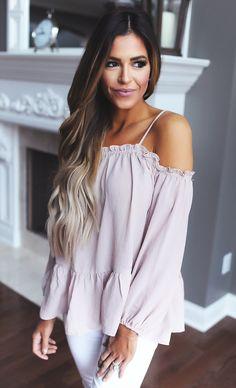 Cold Shoulder Ruffle Blouse- Dusty Mauve - Dottie Couture Boutique